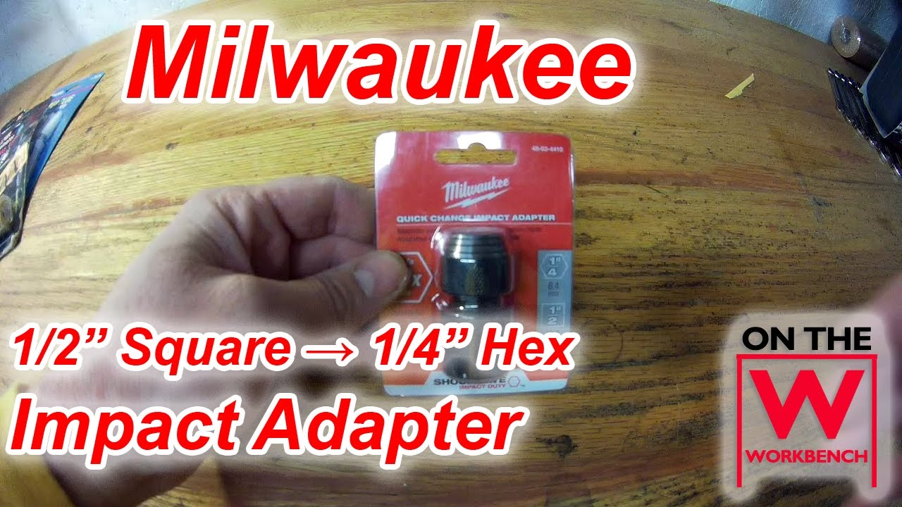 1//2-inch Square to 1//4-inch Hex Milwaukee 48034410 Shockwave Bit Adaptor