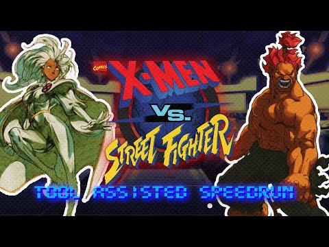 (TAS) X-Men Vs Street Fighter - Storm + Akuma Arcade Lv8