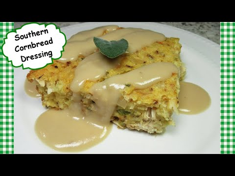 Southern Cornbread Dressing ~ Leftover Turkey Chicken Casserole Recipe