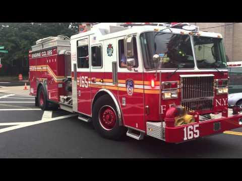 FDNY ENGINE 165 HAZMAT & FDNY TOWER LADDER 85 RESPONDING RICHMOND ROAD IN STATEN ISLAND, NEW YORK.