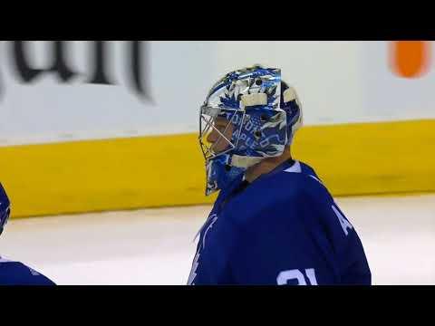Frederik Andersen makes a desperation glove save on Noah Hanifin