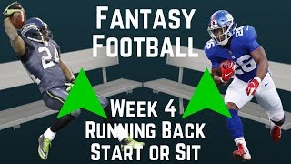 Fantasy Football - Week 4 Running Back Start or Sit