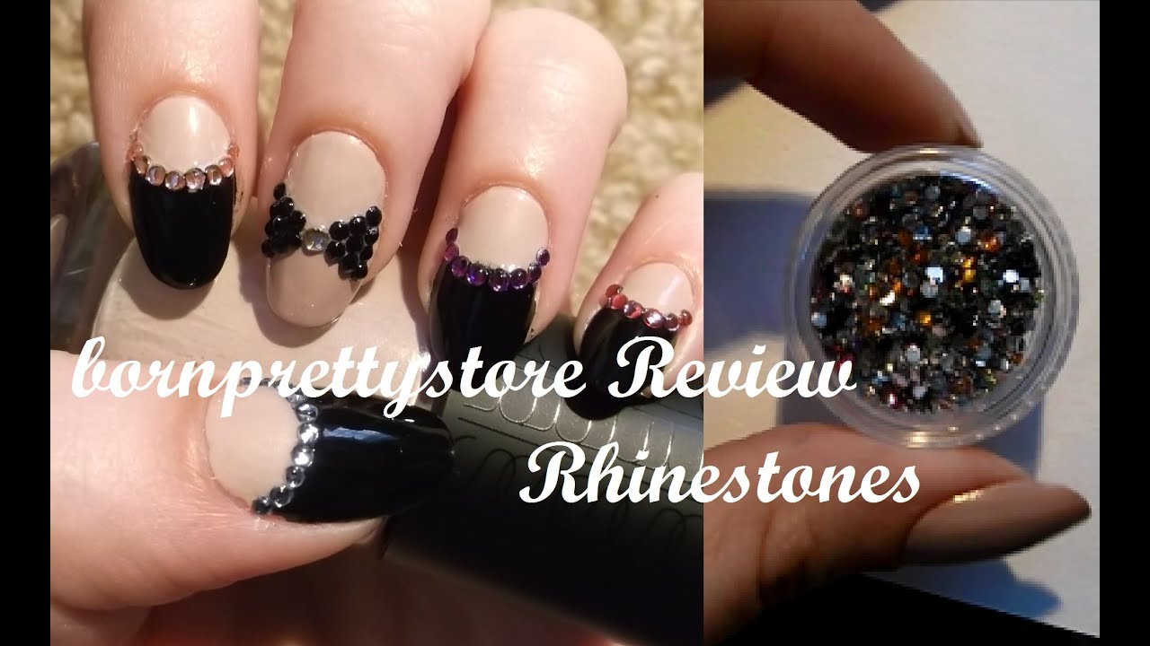 Bps Rhinestones Review 2 Nude And Black Bling Nail Art Youtube