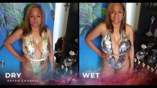 Summer Swimsuit Change Color When Dry & Wet Silver To Gold. Beautiful Girl Show Color Change Sequin