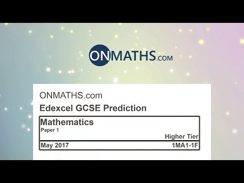 2017 Edexcel Maths GCSE Predicted Paper for Higher Paper 1 Non Calculator Exam 1MA1/1H