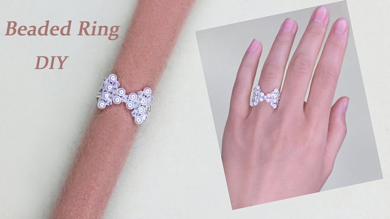 DIY Beaded Bow Ring with White Pearls and Bicone Crystal Beads 手工制作蝴蝶形串珠戒指
