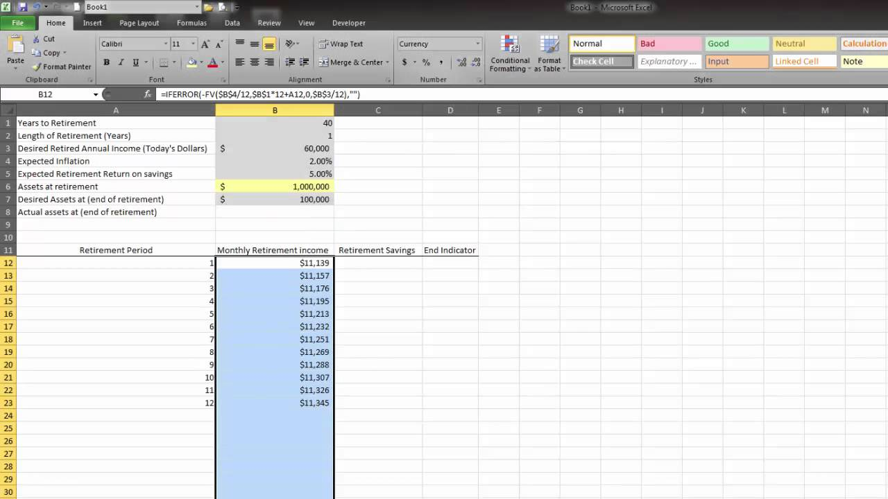 finance with excel retirement spending calculator youtube