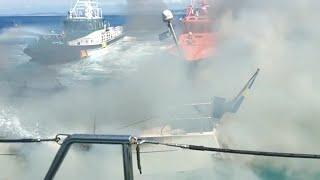 Guardia Civil-- Trabajos de extinción incendio de velero cerca de Malpica (A Coruña)