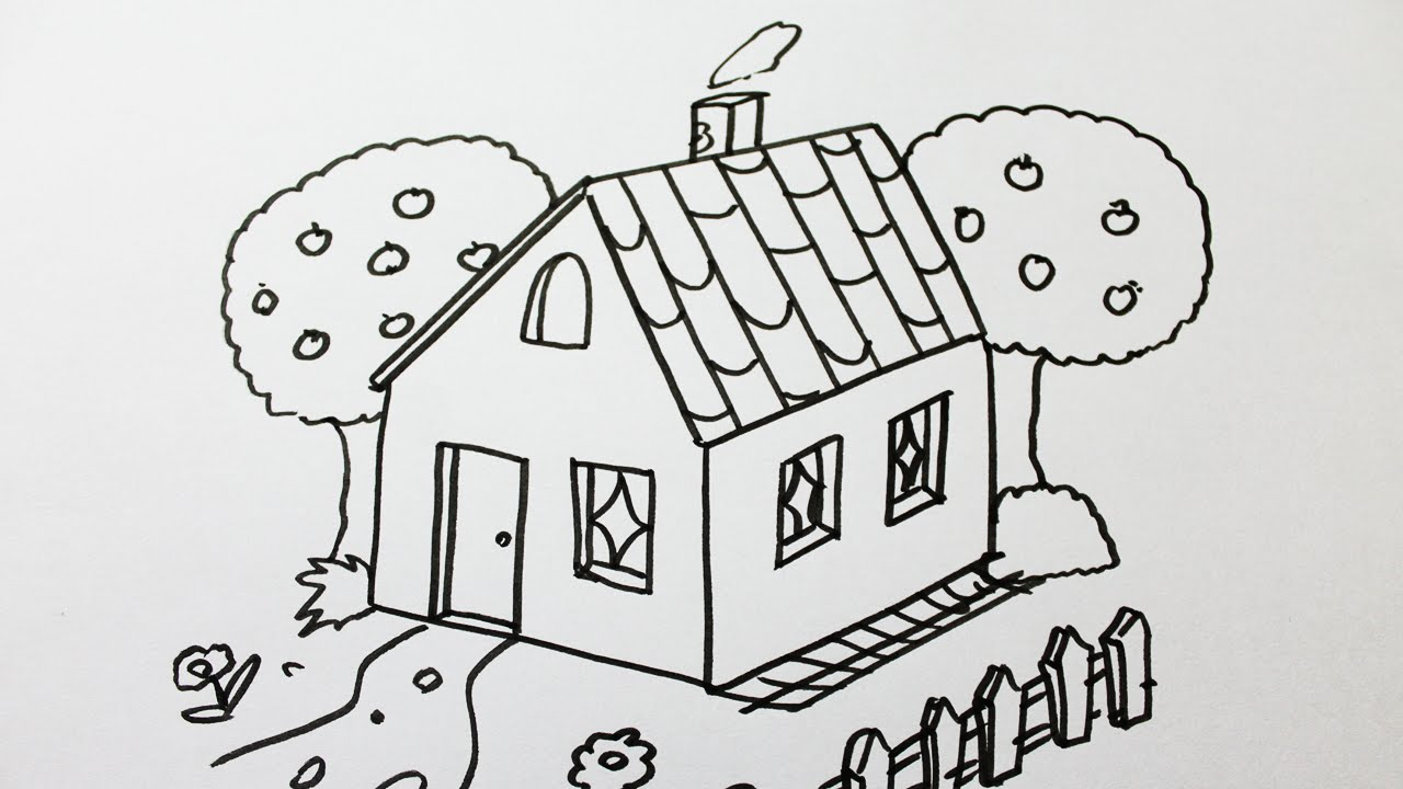 Comment dessiner une maison youtube - Dessin de maison facile ...