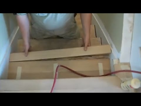 How To Install Hardwood Stairs Treads Nosings And Risers With   Unfinished Stair Treads And Risers   Glue Block   Engineered Hardwood   Remodel   Hardwood   Oak