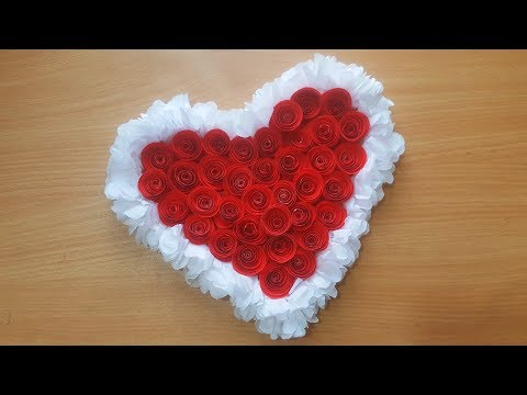 DIY- Tissue and Paper Wall Hanging Flower - Paper Heart Wall Hanging - Easy Wall Decoration Ideas   