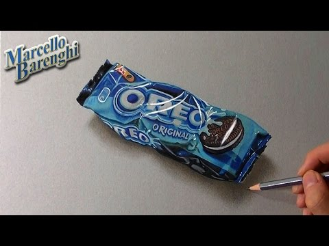 Drawing time lapse: Oreo cookies snack pack – hyperrealistic art