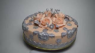 Торт на серебряную свадьбу с цветами