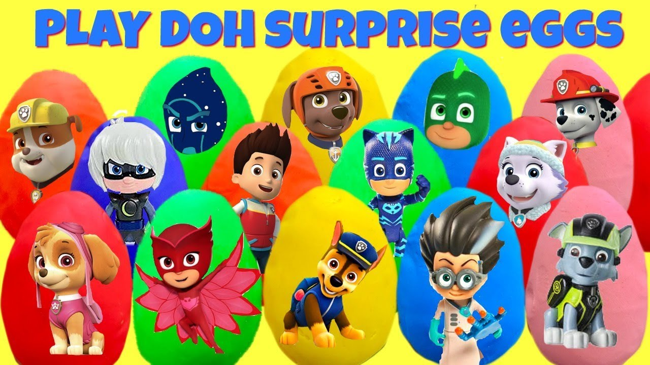 Fizzy Fun Toys: 15 Paw Patrol And PJ Mask Play Doh Surprise Eggs With