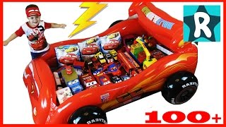100+ cars toys GIANT SURPRISE OPENING Disney Pixar Lightning McQueen 100+ Тачки МОЛНИЯ МАКВИН