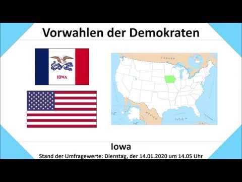 Vorwahlen der Demokraten Iowa: Umfragen Stand 14.01.2020, 14.05 (Biden |  Sanders | Warren)