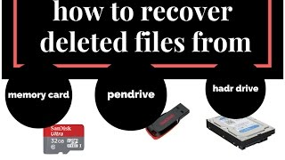 How to Recover deleted Data Files from pendrive hard drive Memory Card,sd card in hindi