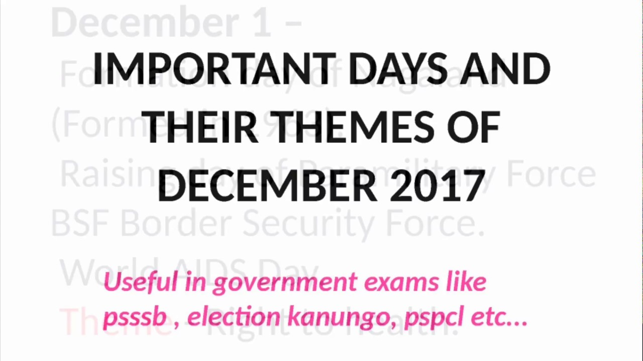 important days and their themes 2017 pdf