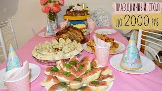 МЕНЮ на День Рождения БЮДЖЕТНЫЙ ПРАЗДНИЧНЫЙ СТОЛ Салат горячее торт закуски ПРАЗДНИЧНОЕ МЕНЮ