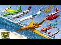 gta v every airplanes winter snowy falling to sea water best extreme longer crash fail compilation