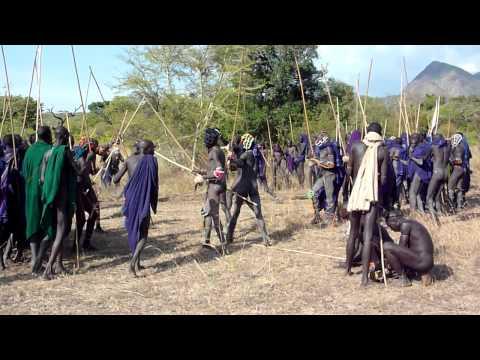 Ethiopie : bataille de bâtons, fête de donga chez les Suris Tirma, vallée de l'Omo
