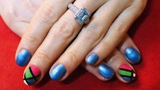 Nail Art con Disegno colorato fatto con lo smalto semipermanente (tutorial nail art)