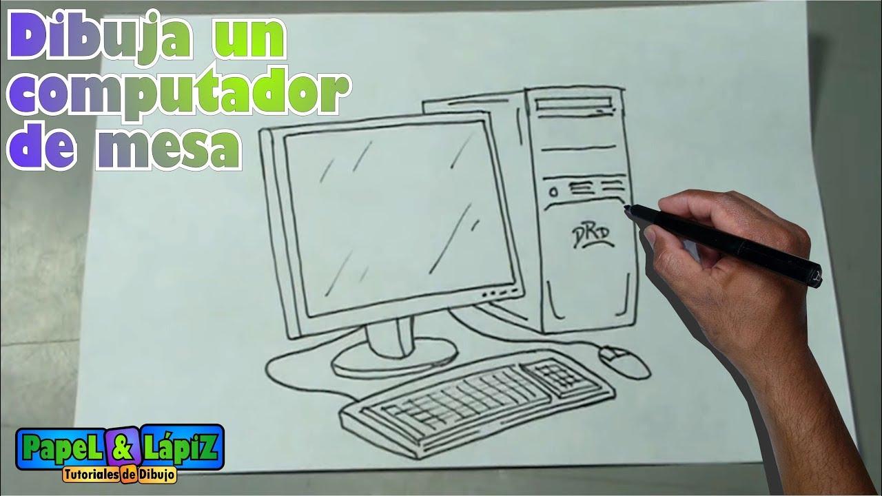 Cómo dibujar fácil un computador de mesa - Desktop computer ...