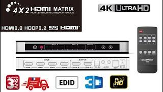 HDMI MATRIX - 4 Input 2 Output (4x2) Switch / Splitter -3D - 4K - UHD 3D - SPDIF 5.1 Audio