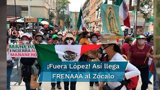 Los manifestantes del Frente Nacional Anti-AMLOiniciaron su camino para llegar al primer cuadro de capital y exigir la renuncia del Presidente López Obrador