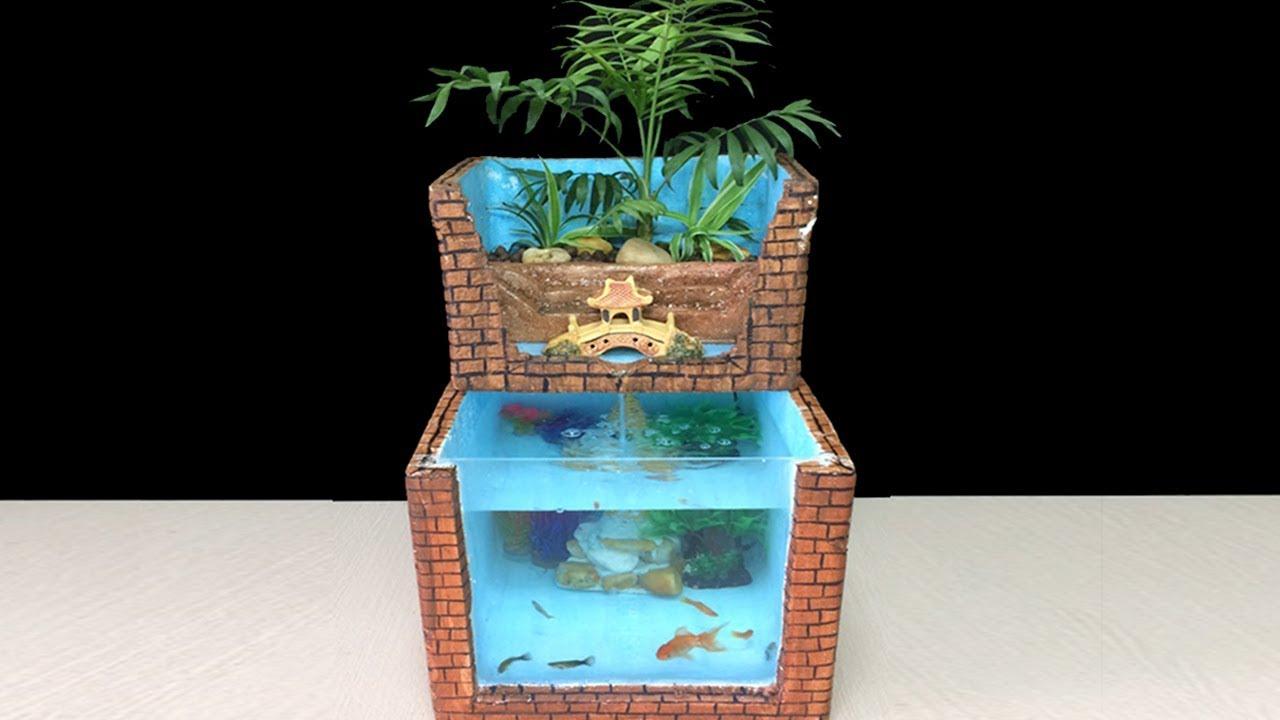 DIY AQUARIUM FISH OF STYROFOAM BOX (AQUAPONICS SYSTEM) - HOW TO MAKE FISH  TANK PALUDARIUM