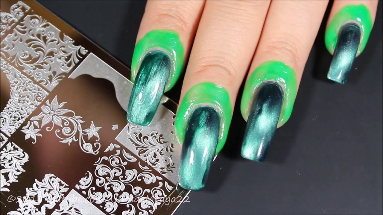 😍💅💚DIY Magnetic Stamped Nails / Uñas Estampadas Magneticas ...