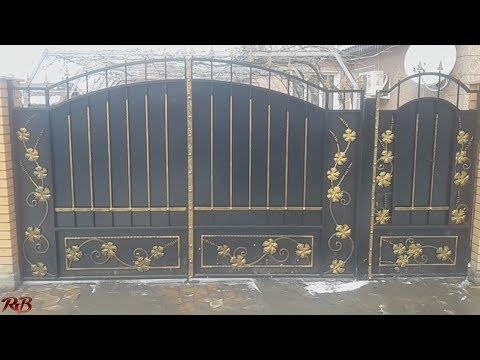 Красивые ворота из ковки и листового металла своими руками