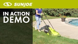 MJ404E 360 - Sun Joe 3-Wheel 16-Inch Electric Lawn Mower with 360 Degrees Turn Radius - Live Demo