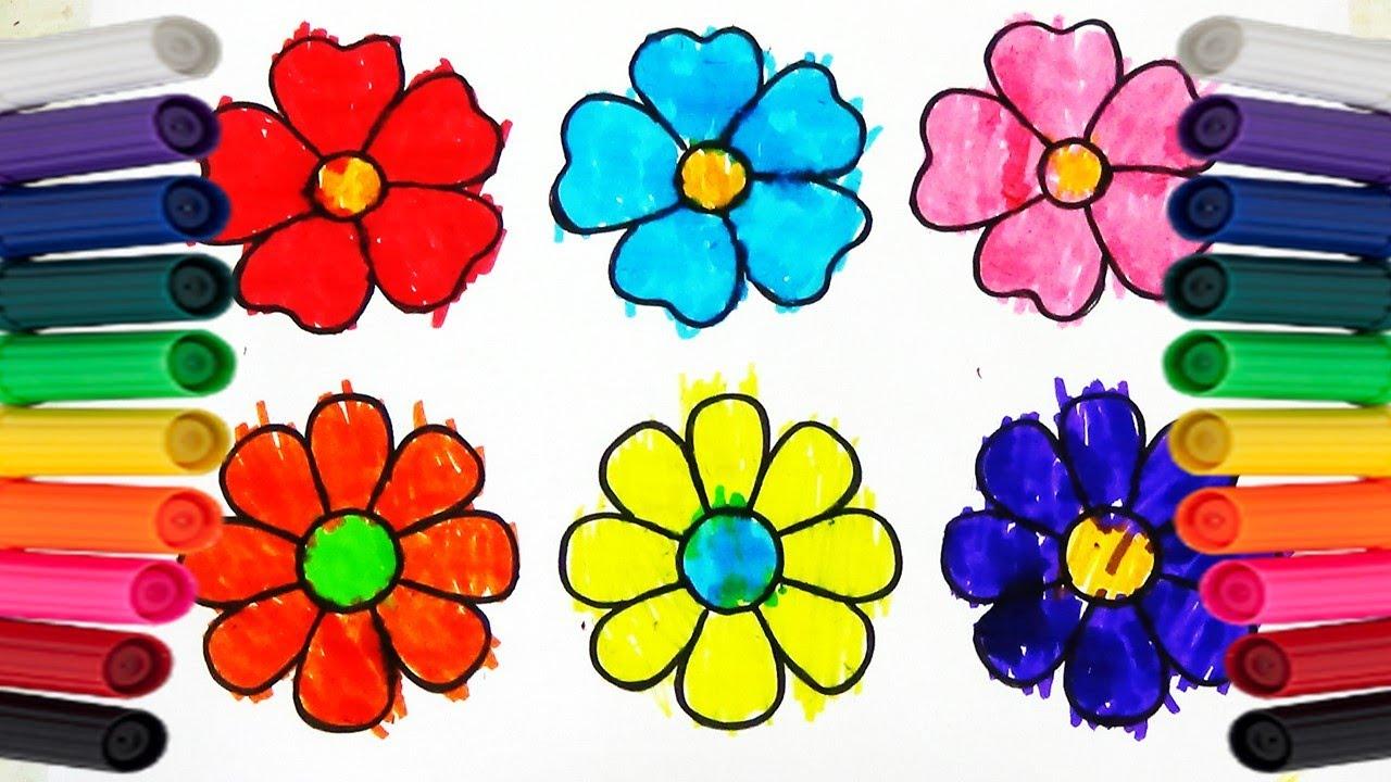 Como Colorear FLORES De Muchos Colores
