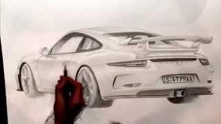 Porsche 911 GT3 Timelapse Drawing