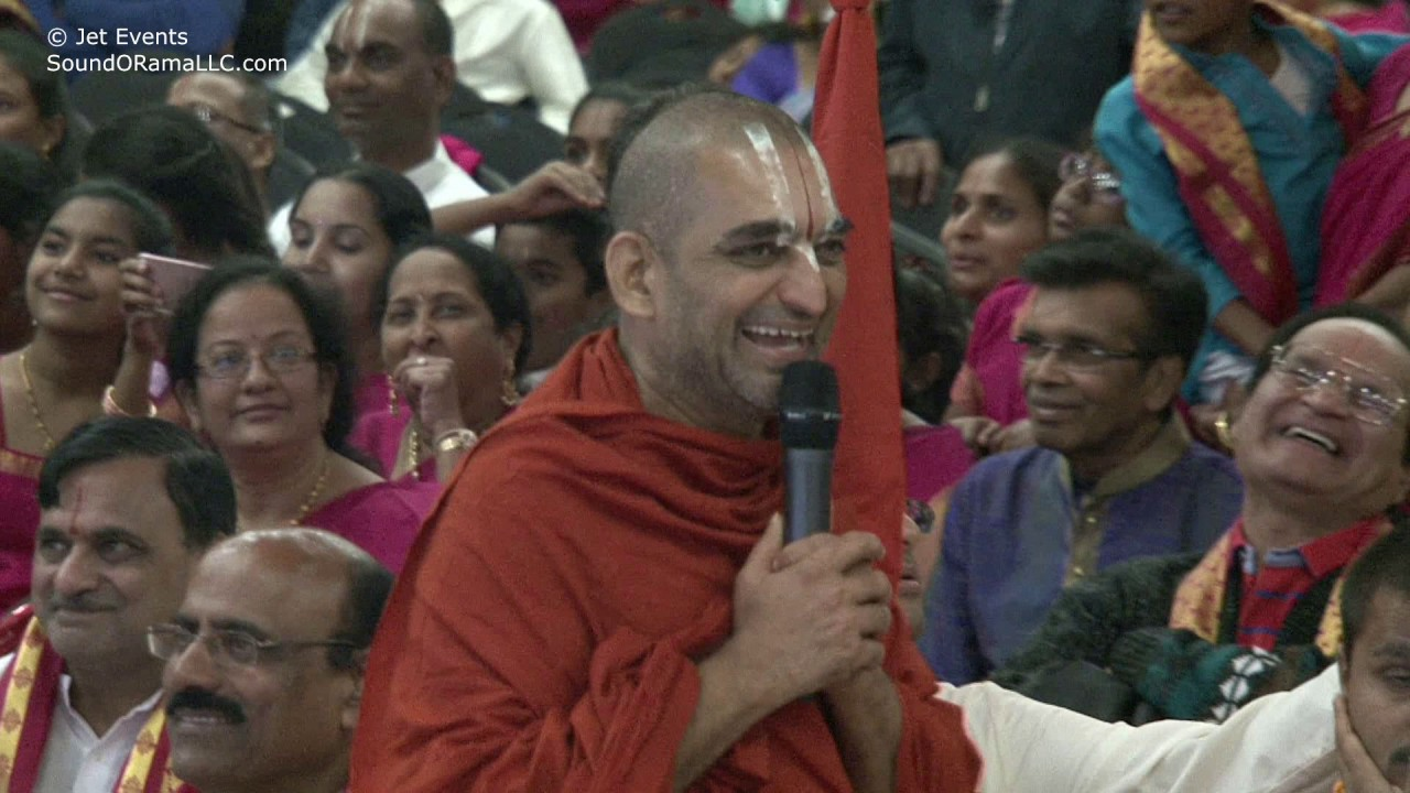 HH Chinna Jeeyar Swami giving his compliments to Smt. Srilatha Suri and his students.