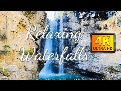 ASMR Relaxing Natural Waterfalls, Relaxing Sleep Music, Meditation Music, Birds Singing, 4K Video