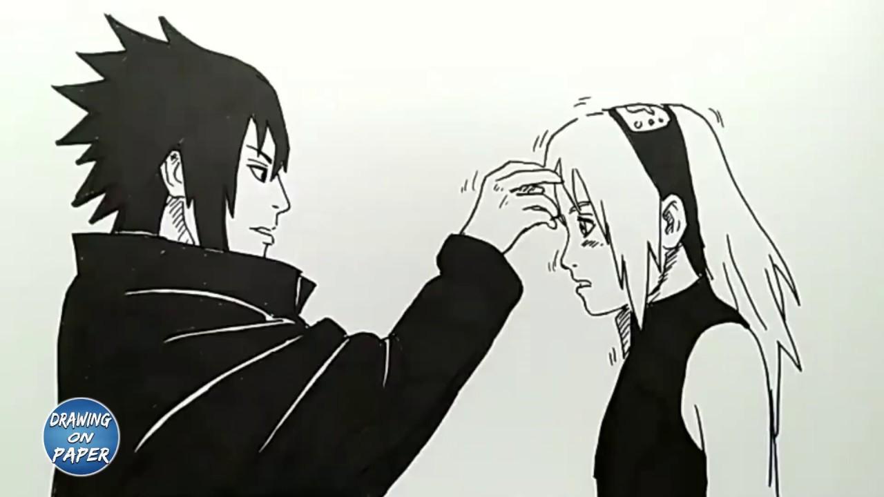How to Draw Sasuke and Sakura (ROMANCE MOMENT) - Drawing doodle art for kids
