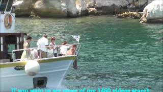 day excursion boats leaving and returning to Skiathos island harbour (Greece)