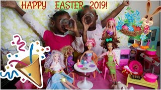 Pretend Easter Party Play with Barbie dolls    THE FAMOUS SISTERS