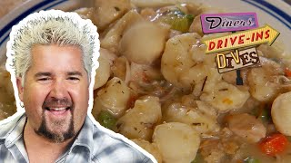 Guy Fieri Eats Some Really Righteous Chicken and Dumplings (from #DDD) | Food Network