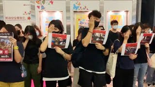 Protestors in Hong Kong show solidarity with female volunteer who got shot in the eye