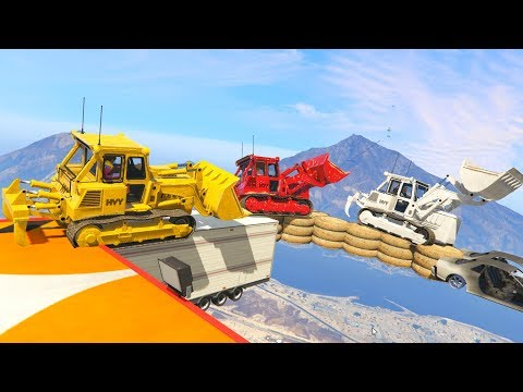 IMPOSSIBLE BULLDOZER PARKOUR!  GTA 5 Funny Moments #747