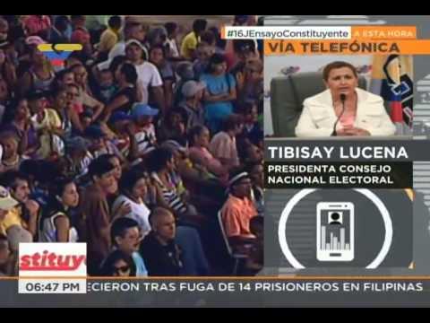 Tibisay Lucena informa sobre resultados del simulacro del 16 de julio para la Constituyente