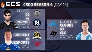 ECS CS:GO S4 DAY 13: G2 vs EnVy // Mouz vs Godsent // Cloud9 vs CLG