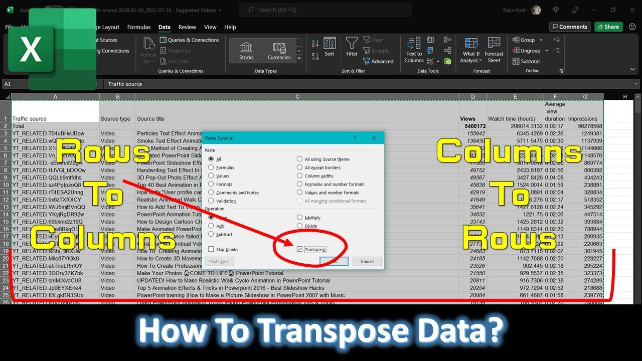 How to Transpose Data From Rows To Columns | Microsoft Excel 2016 Tutorial