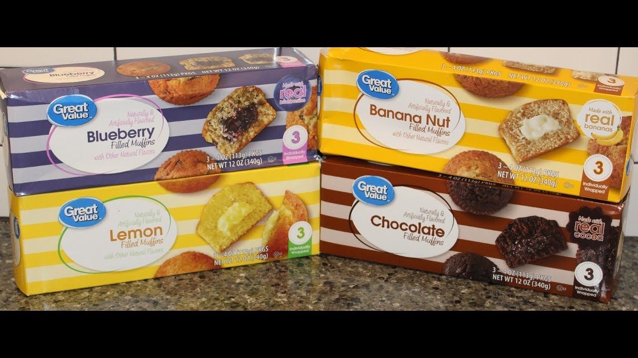 Great Value Walmart Brand Filled Muffins Blueberry Banana Nut Lemon Chocolate Review