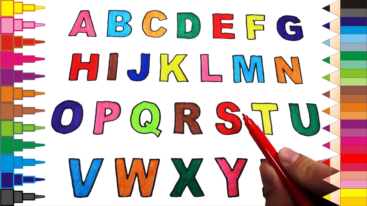 Drawing And Coloring The Alphabet From A To Z For Learning Colors Baby Youtube