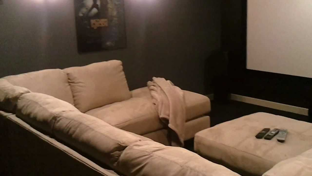inexpensive home theater seating low cost man cave diy home theater on budget with 12 foot diagonal screen youtube