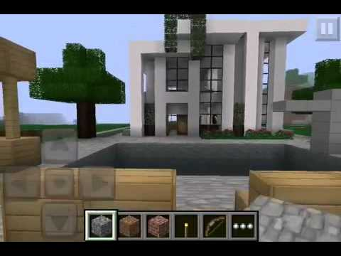 Minecraft pe modern house youtube for Modern house minecraft pe